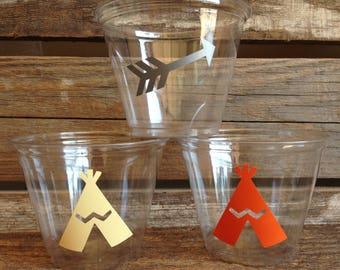 Tribal Party Cups - Arrows, Wild One Party, Birthday Party, Party Decorations, First Birthday, Clear Cups