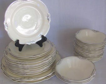 Set of 32 Pieces of Homer Laughlin Silver Rose Patrician, Virginia Rose Pattern, Plates, Bowls etc.