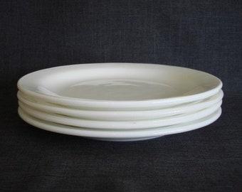 Set of 4 Anchor Hocking Milk Glass Plates, Vintage Anchor Hocking Plates, Milk Glass Plates, 8 7/8 in. White Glass
