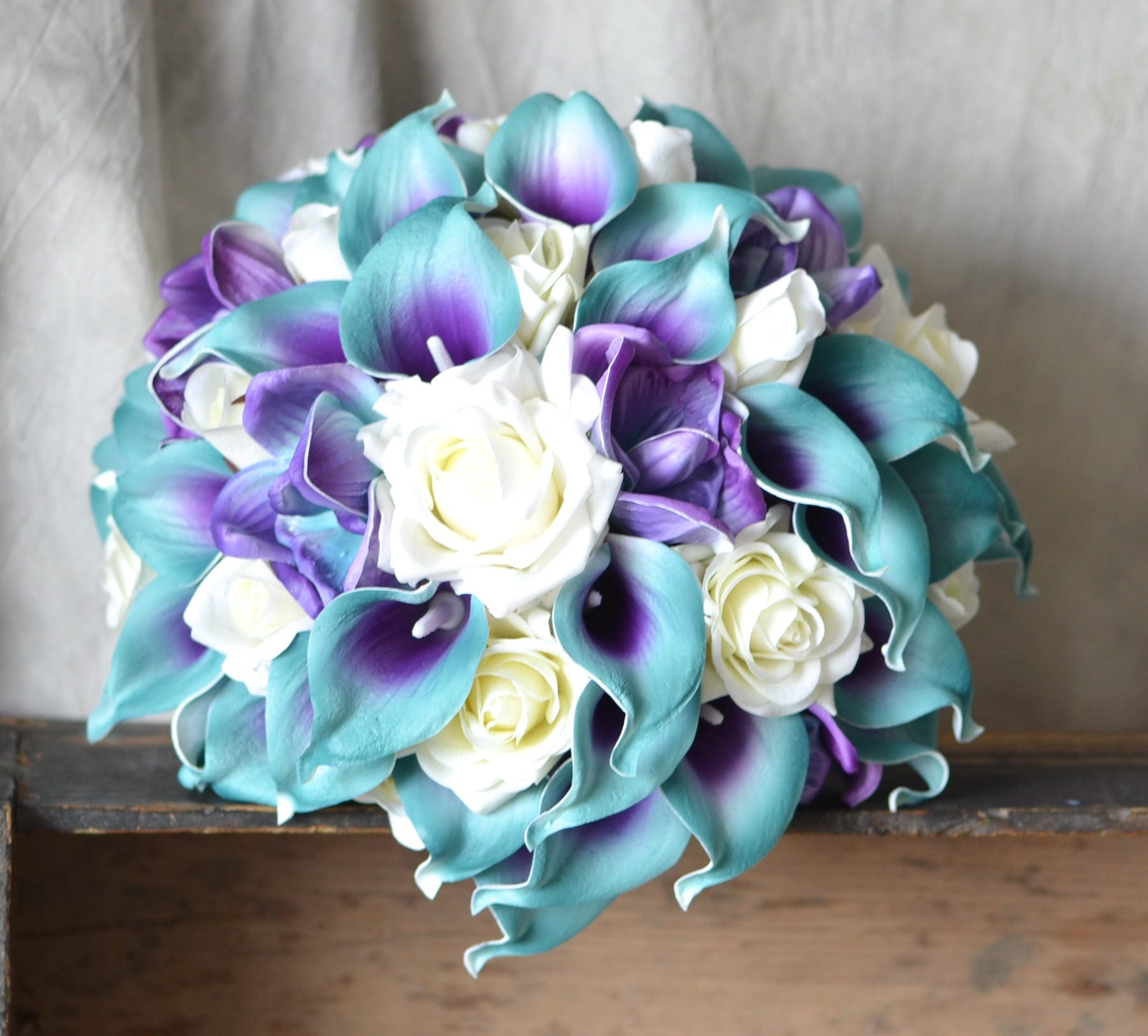 Teal And Purple Wedding Flowers: Teal Purple Bridal Bouquet Real Touch Flowers Calla Lily Ivory