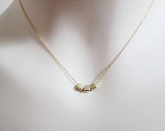 Modern, Triple, Square, Gold filled, Rose gold filled, Chain, Necklace, Lovers, Friends, Mom, Sister, Gift, Accessory, Jewelry