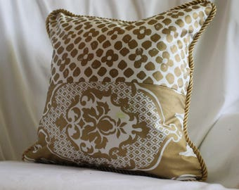 16x16, Bohemian Style, Quilted Decorative Pillow Cover,Cream and Gold, Designers Guild Printed Cotton From Jane Hall Design