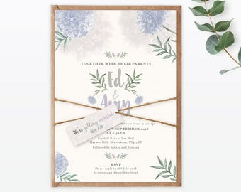 Watercolour Flora - Wedding Invitation - delicate- sophisticated- Single card