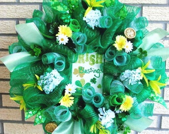 St Patrick's Day Wreath, Spring Wreath, Deco Mesh Wreath, Large Spring Wreath,