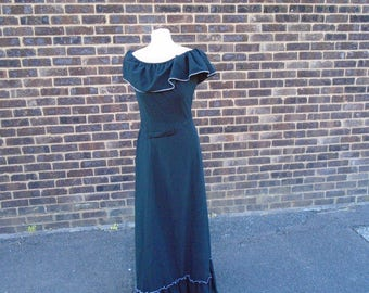 dress black and silver maxi in gypsy style size