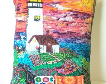 Christmas art ideas - Christmas gift idea- Lighthouse Art - Great Dorm Room Decor - Decorative Pillow Cover - Washable Pillow Cover