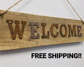 Rustic Welcome Sign, Rustic Welcome Sign Porch, Vintage Welcome Sign, Metal Welcome Sign, Pallet Sign, Pallet Welcome, FREE SHIPPING!