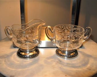 Exquisite Vintage Cambridge Elegant Glass Chantilly Pattern Sugar Bowl and Creamer w Sterling Base