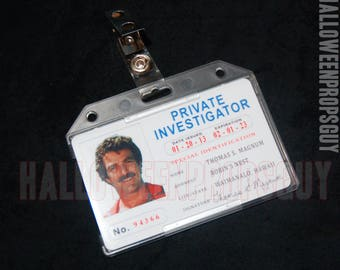 MAGNUM PI Style Thomas Magnum Private Investigator Pvc Id Card Badge Tom Selleck Made In USA