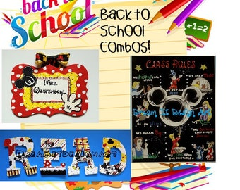Mickey Mouse Triple Threat Back To School Combo -- Teacher Sign+Class Rules Poster+Set of 4 READ Letters