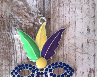 Mardi Gras mask Rhinestone Chunky necklace Pendant , Chunky bubblegum charm