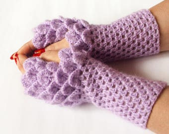 Ready to Ship - Crocodile Fingerless Gloves, Dragon Scale Fingerless Gloves, Dragon Gloves, Crocodile stitch, Сhoice color, Christmas Gift