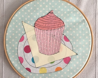 Cupcake Hoop Art | Cupcake Picture | Cake Hoop Art Applique | Freehand Embroidered Applique