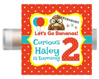 Curious George Personalized Lip Balm  - Curious George Birthday Favors - Custom Chapstick - Favor Bags -  Invitation - Curious George Party