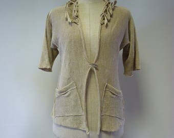 Sale. Elegant taupe cardigan, M size. Made of pure linen.
