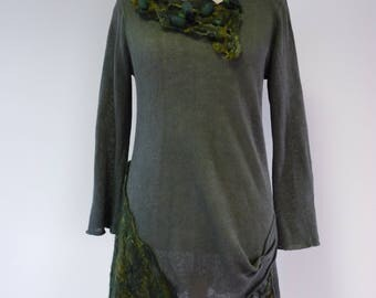 Boho green linen sweater with felted decoration, L size.