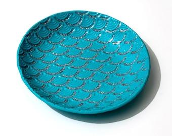 Jewelry Dish, Trinket Dish, Ring Dish, Aqua Dish, Jewellery Dish, Change Dish, Jewelry Holder, Trinket Holder, Dragon Scale Dish-Prototype