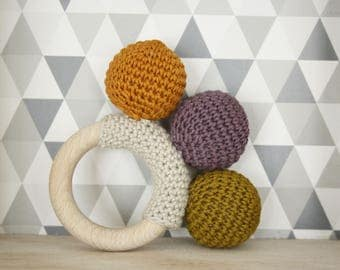 Wooden Bell with quiet and teething ring rattle