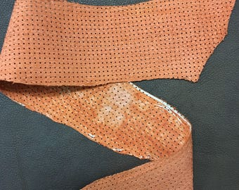 Fish leather orange suede finish perforated