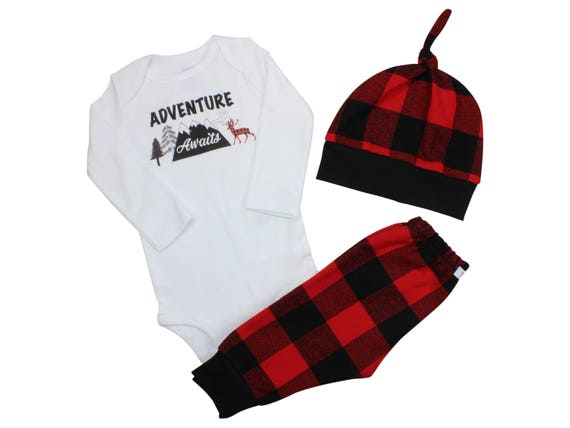 Adventure Awaits Boy Bodysuit Buffalo Plaid Pants Fall Winter Baby Outfit Boy Outfit Red Black Buffalo Plaid Deer Mountains Outdoors Hat Boy