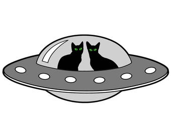Alien cats, UFO illustration, sci fi art print with two kittens, digital drawing cartoon