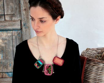Festival Necklace, Necklace Red Boho, Boho Chic, Ethnic Handmade, Textile Jewelry, Fabric Necklace, Gypsy Necklace, Bohemian Necklace, Gifts