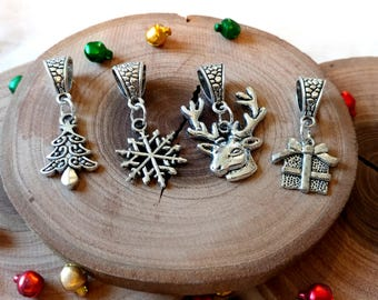 Choose Your Own Christmas Charm Necklace, Christmas Jewelry, Holiday Jewelry, Santa Clause, Christmas Tree, Reindeer, Gift, Snowflake