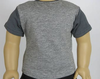 Fits Like American Girl Doll Clothes.  Two-Tone Grey T-Shirt.