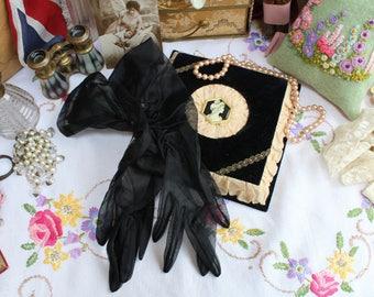 Vintage Velvet & Silk Cameo Handkerchief Glove Box and Black Sheer Cocktail Gloves