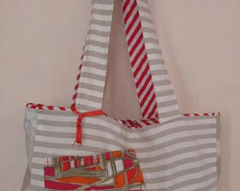 Cotton bag with vintage fabric Pocket