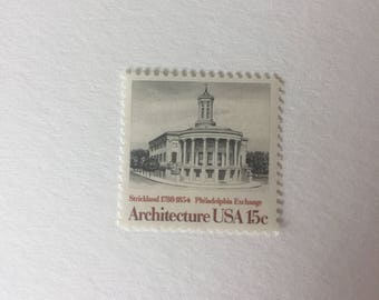 10 vintage 15c US postage stamps - Architecture Philadelphia Exchange 1979 - neutral Black and white gray scale - unused