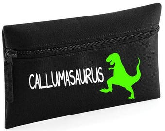 Personalised kids DINOSAUR dino pencil case (your name) asaurus back to school