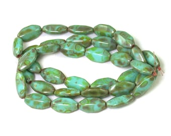 Turquoise Green opaque w/ Light Brown picasso 15 x 7 x 4mm long ridged octagons. Set of 12, 24 or 36.