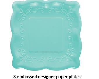 teal embossed paper plates fancy tableware cake dessert designer baby shower