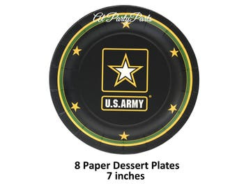 US Army dessert plates, military wedding decorations, graduation, officers retirement, veterans reunion, official Army logo, star, soldiers