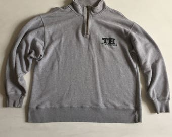 TOMMY HILFIGER Vintage Pullover Small S Mens 1/4 Zip Cotton Gray A1404