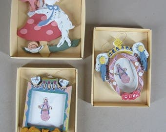 3 whimsical wood ornaments Howard Kaplan's French Country Store 1984