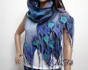 BLUE and TURQUOISE Nuno Felted Silk Scarf Shawl Wrap Art to Wear