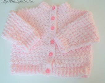 Hand Crocheted Baby Sweater in Pink