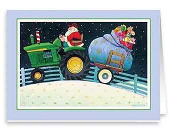 Farmer Santa on Tractor - 18 Cards & 19 Envelopes - 20063