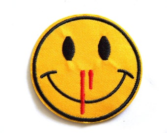 Smiley Face Nosebleed Emoji Embroidered Patch Appliqué