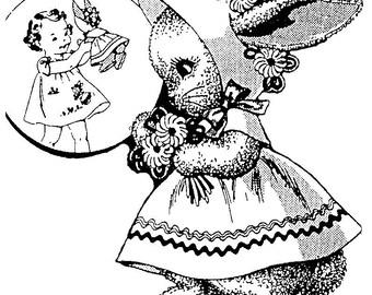 Vintage Bunny With Bonnet Pattern PDF Instant Download ePattern