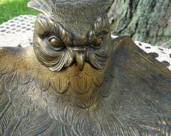 Antique CAST BRASS -  Figural OWL Inkwell / Inkstand with Glass Well