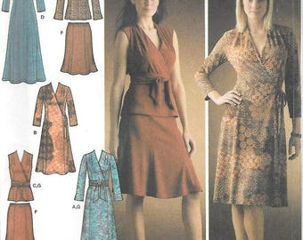 Wrap Knit Dress Sewing Pattern/ Simplicity 4074 Womens Mock Wrap, Top Tunic, Skirt, Pullover Dress, Uncut/ Size 6 8 10 12 14