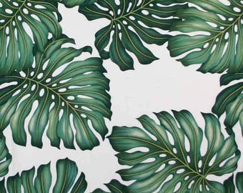 Fabric Tropical Monstera Leaf on Natural, Cotton Twill Barkcloth Outdoor Leaf Nature Upholstery Sewing Craft
