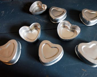 Vintage Aluminum Small Jello Molds - Set of six - Heart shapped