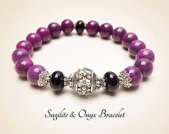 Sugilite Bracelet. Purple Bracelet. Mala Yoga Bracelet. Spiritual Bracelet. Healing Bracelet. Protection Bracelet. Mala Prayer Beads. #M156