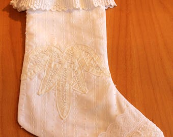 Victorian White Lacy Christmas Stocking. Traditional Shabby Chic Quilted Christmas Stocking. White Frilly Feminine Lace Christmas Stocking