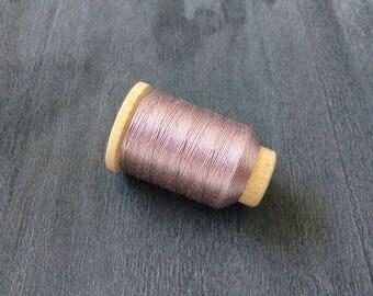 Vintage Gudebrod/Utica Silk Thread Spool, Light Dusty Rose, Size F, 140 Yards