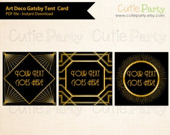 Art Deco Tent Card, Gatsby SquareTent Card, Black Gold Tent Card, Editable Gatsby Label, Gatsby Party Label, buffet card, food and gift tags